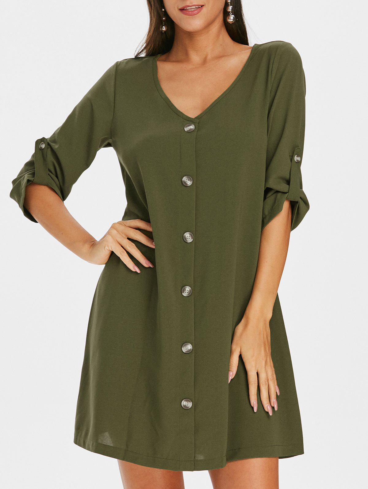 Sale Roll Sleeve Button Down Shift Dress