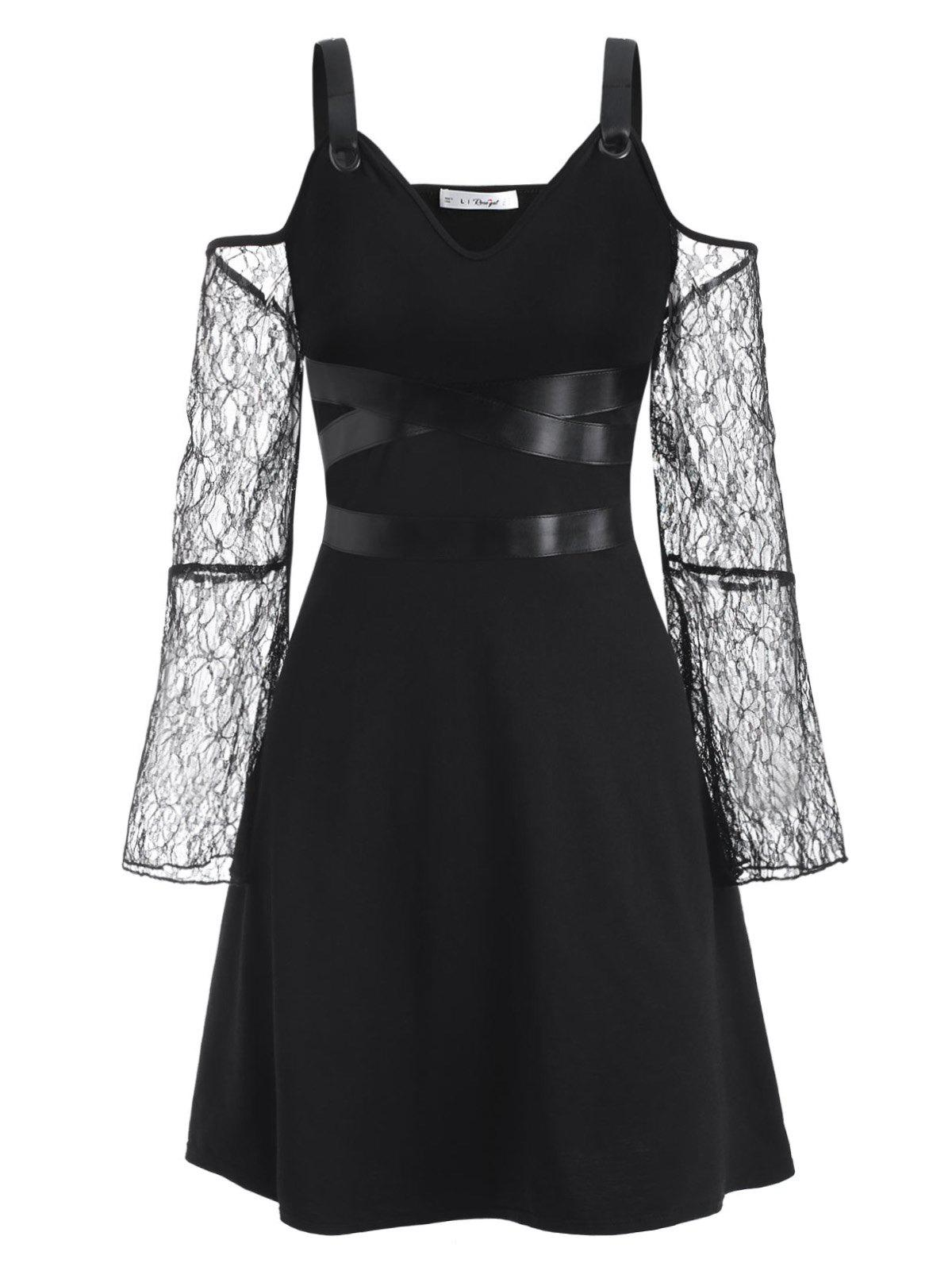 Fashion Plus Size Buckled Lace Sleeve Cold Shoulder Gothic Dress
