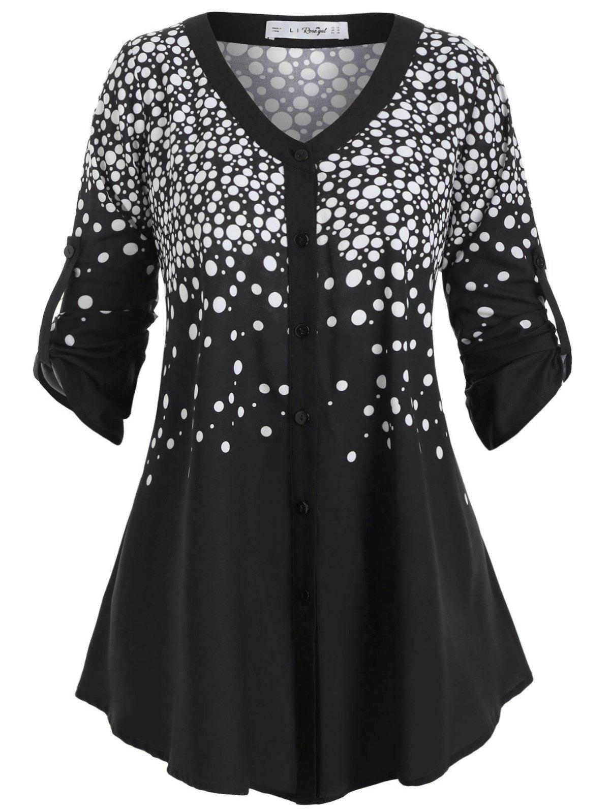 Latest Buttoned Tabs Button Up Polka Dot Plus Size Top