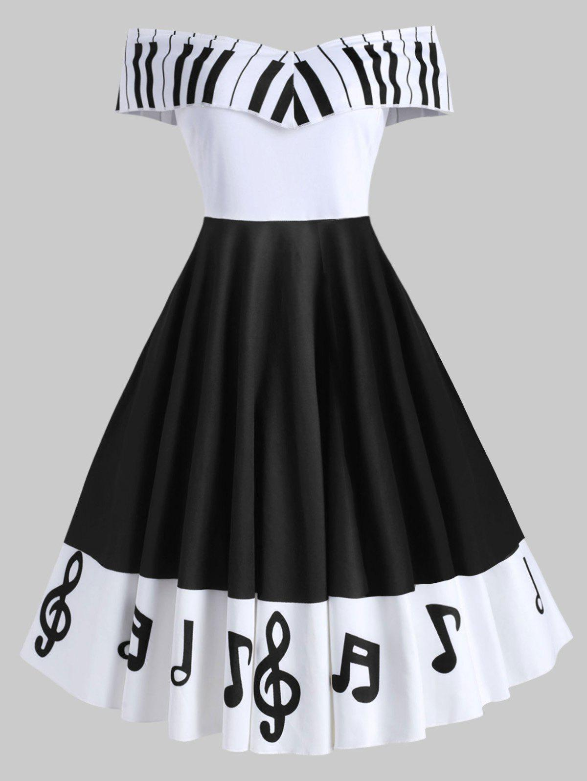 Shops Plus Size Musical Note Print Off Shoulder Vintage Dress