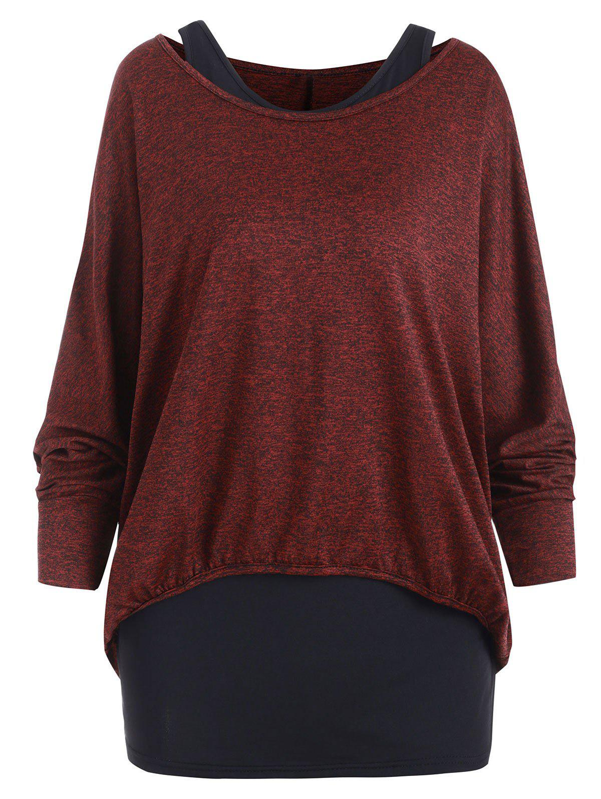 Affordable Dolman Sleeves Space Dye Tee with Tank Top