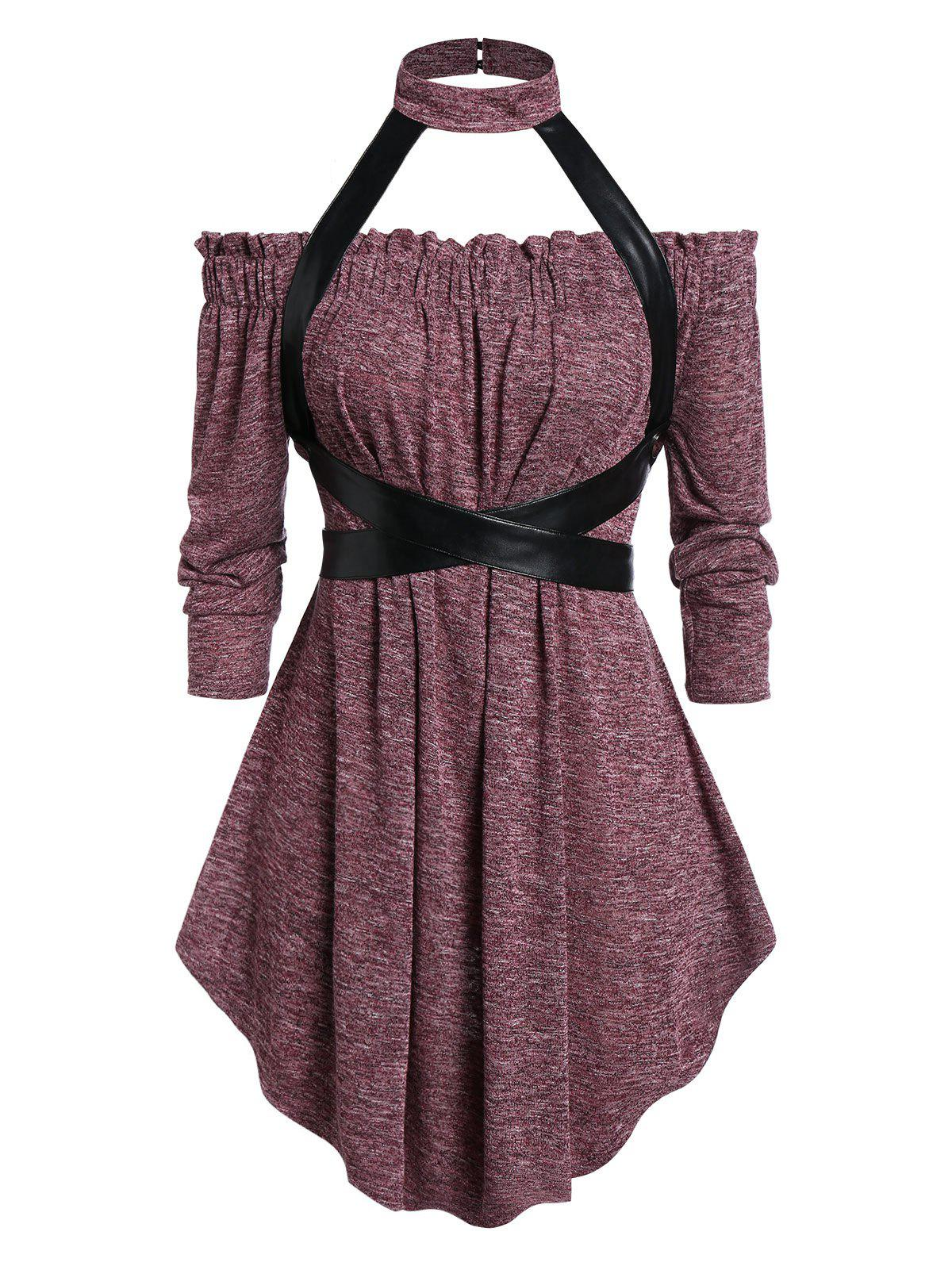 Trendy Plus Size Gothic Choker Harness Marled Tee
