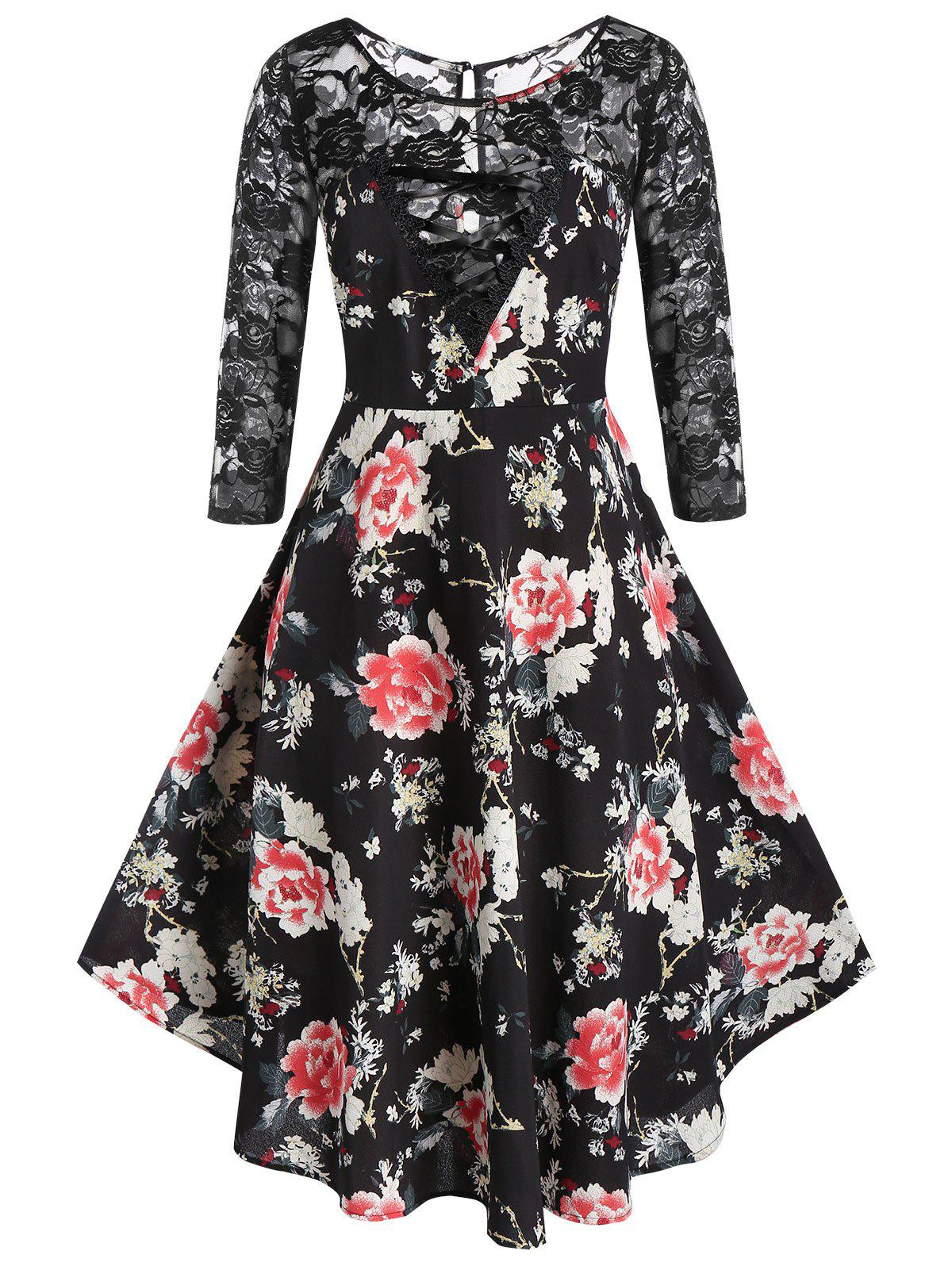 Hot Plus Size A Line Floral Print Lace Panel Dress