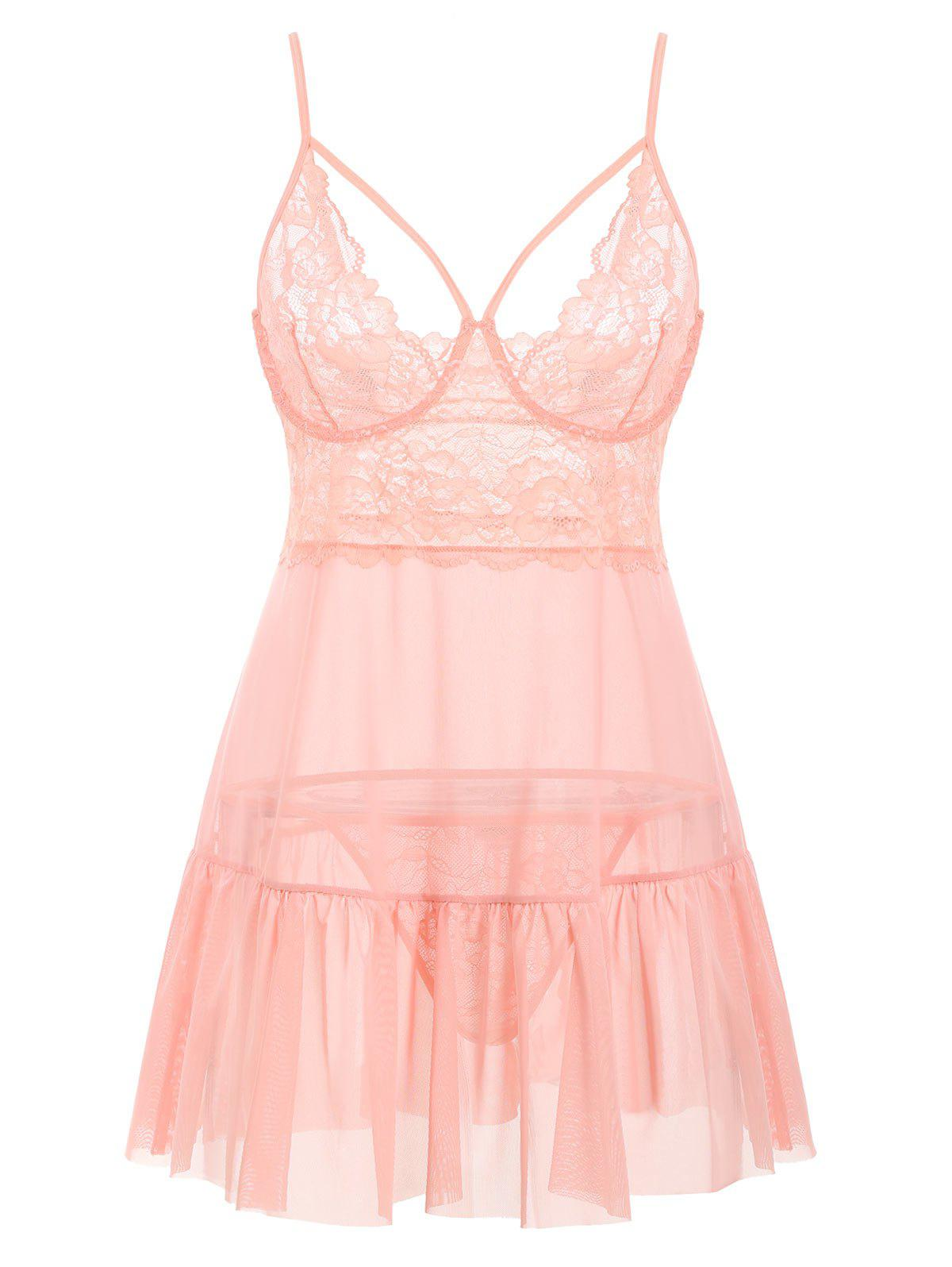 Trendy T Back Harness Lace Panel Sheer Mesh Plus Size Babydoll