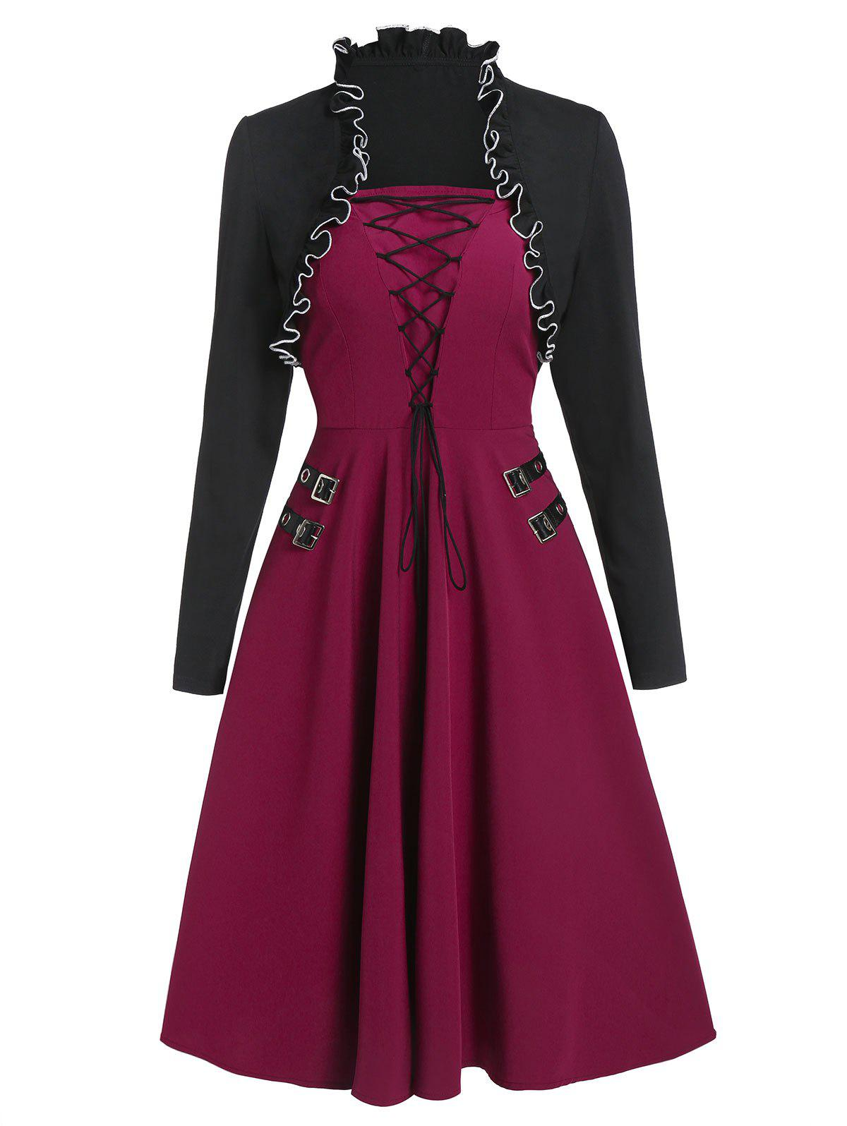 Chic Lace Up Buckle Vintage Dress with Shrug Top