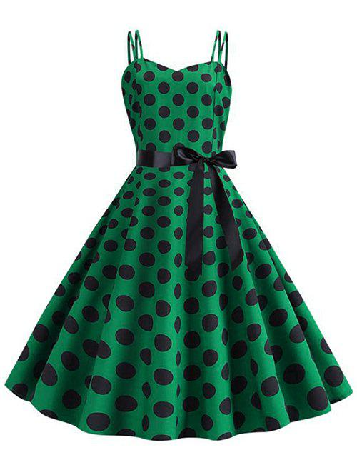Chic Polka Dot Belted Vintage Strappy Dress