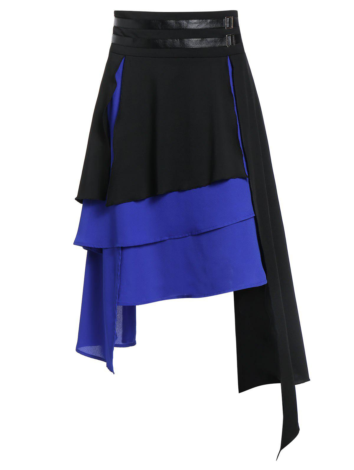 Unique Asymmetric Faux Leather Insert Layered Gothic Skirt