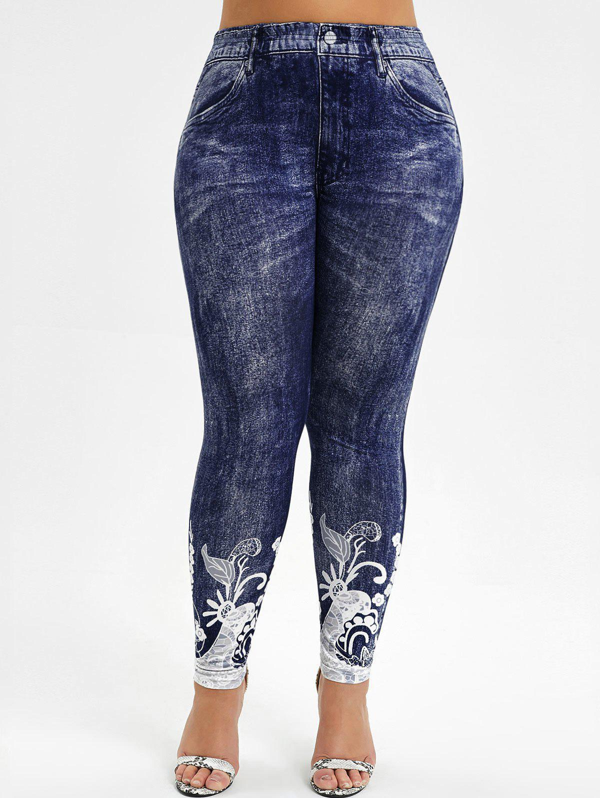 Cheap High Waisted Printed Plus Size Jeggings