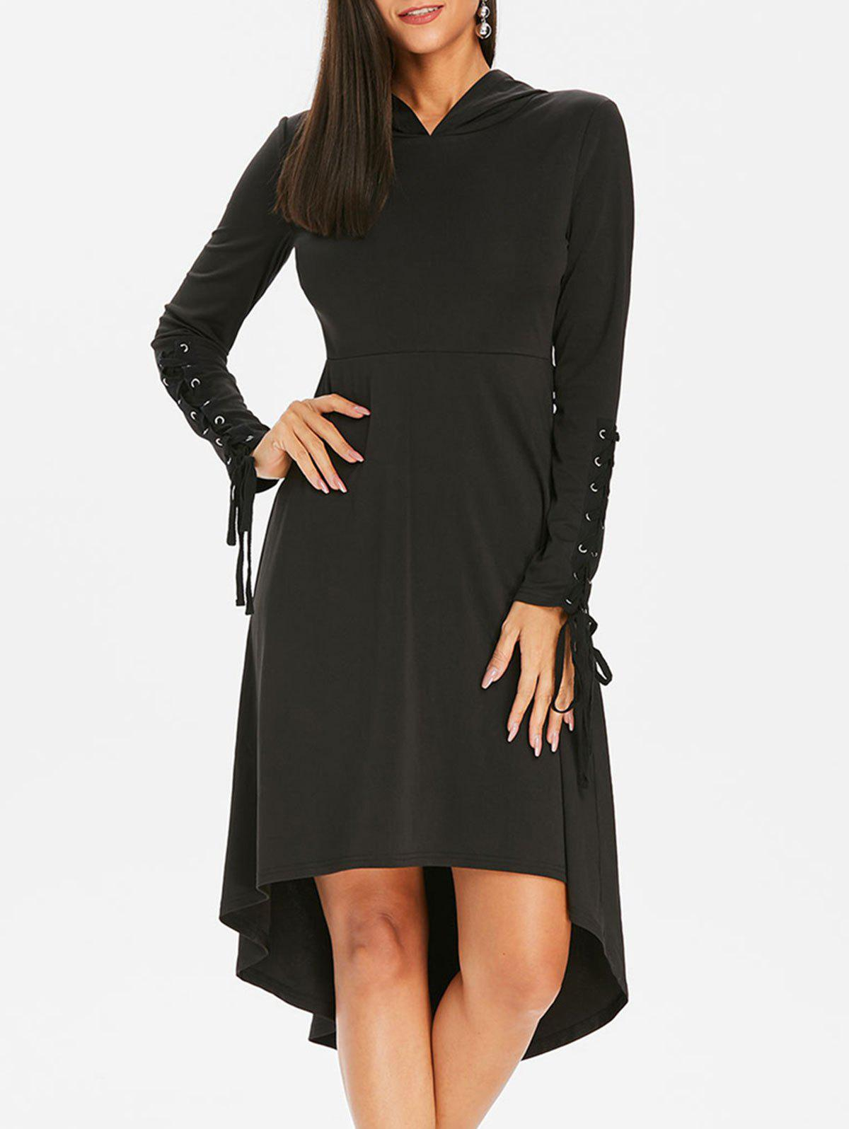 Cheap Hooded Lace Up Gothic Midi Dress