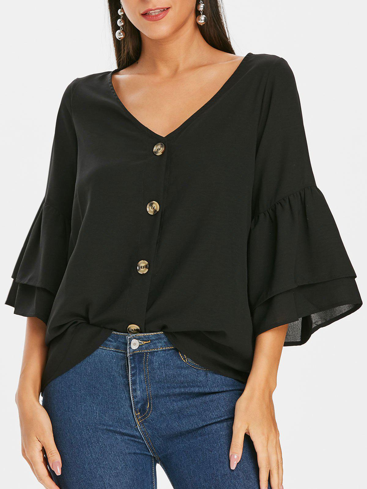 Unique Button Up Plain Bell Sleeve Blouse