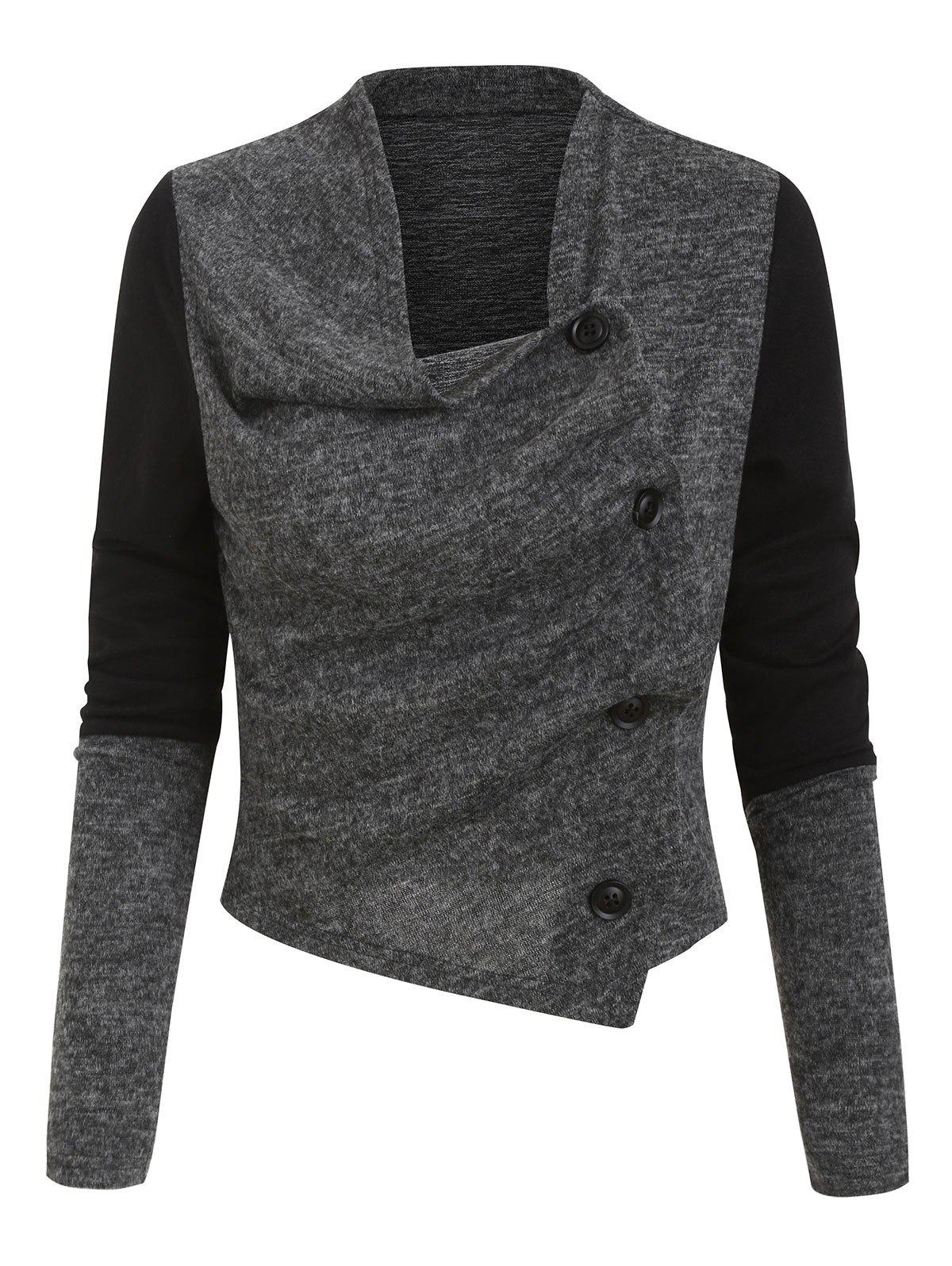 Online Button Up Contrast Heathered Asymmetric Cardigan