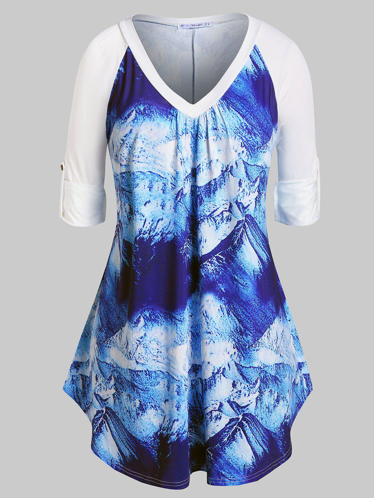 Trendy Plus Size Snow Mountain Print Roll Up Sleeve Tunic T-shirt