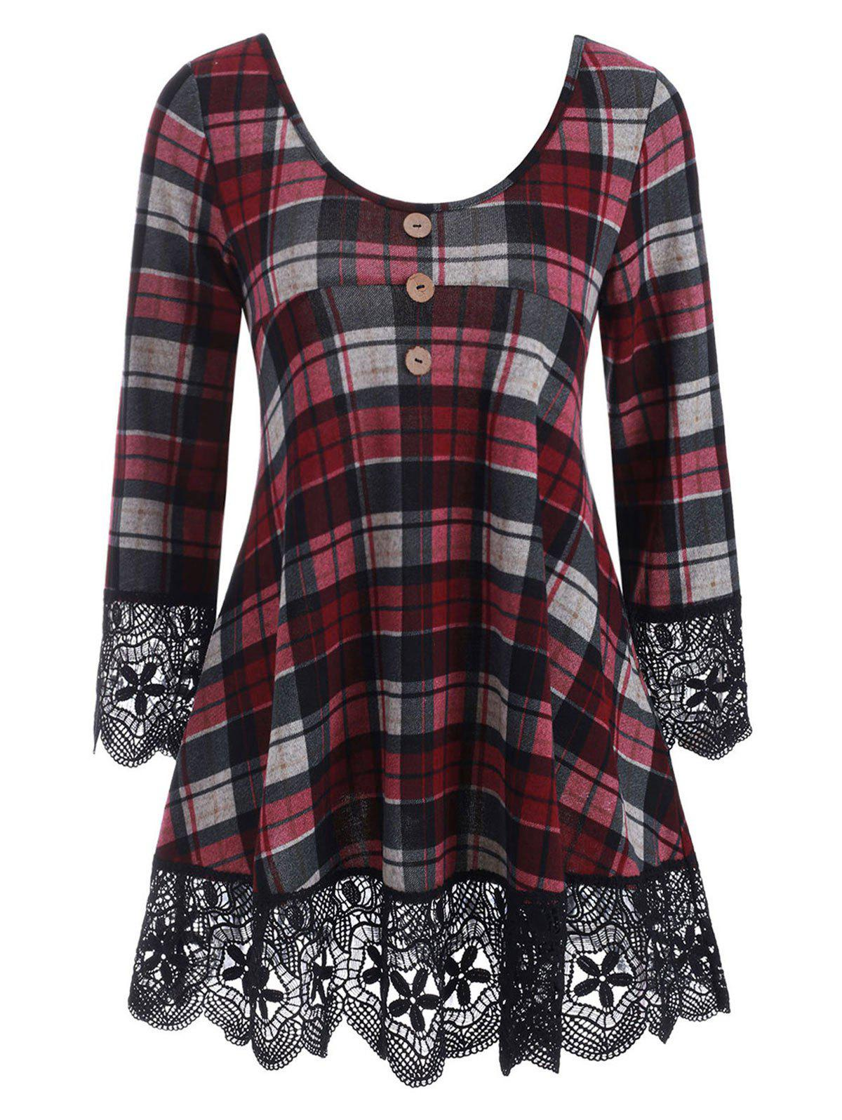 Outfit Plaid Lace Panel Longline Knitwear