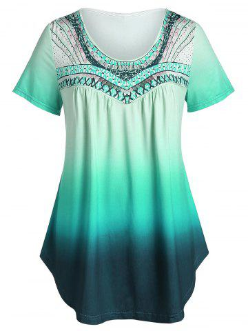 Plus Size Printed Tunic Flare T Shirt - LIGHT SEA GREEN - 1X