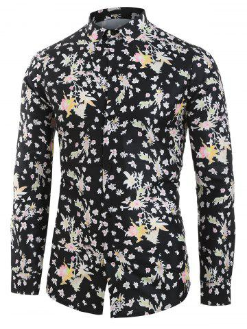 Tiny Floral Pattern Full Sleeves Shirt - BLACK - 2XL