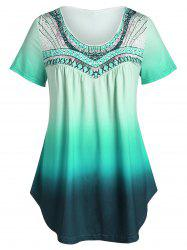 Plus Size Printed Tunic Flare T Shirt -