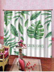 2 Panels Tropical Leaves Letters Print Window Curtains -