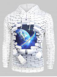 3D Broken Brick Globe Earth Space Graphic Front Pocket Hoodie -