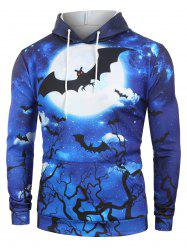 Halloween Bat Moon Graphic Front Pocket Hoodie -