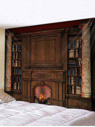 Vintage Fireplace Bookcase Print Tapestry Wall Hanging Art Decoration -
