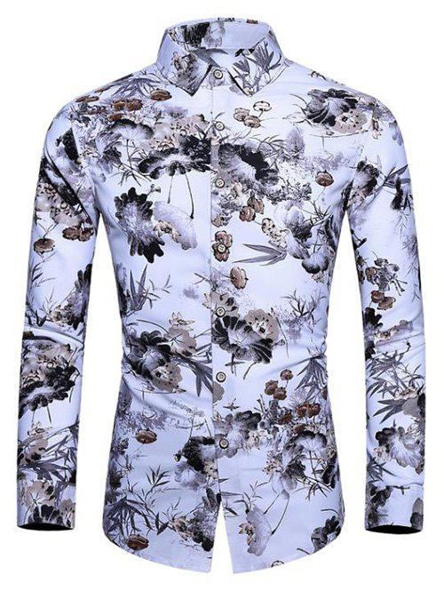 Online Ink Floral Painting Long Sleeves Shirt