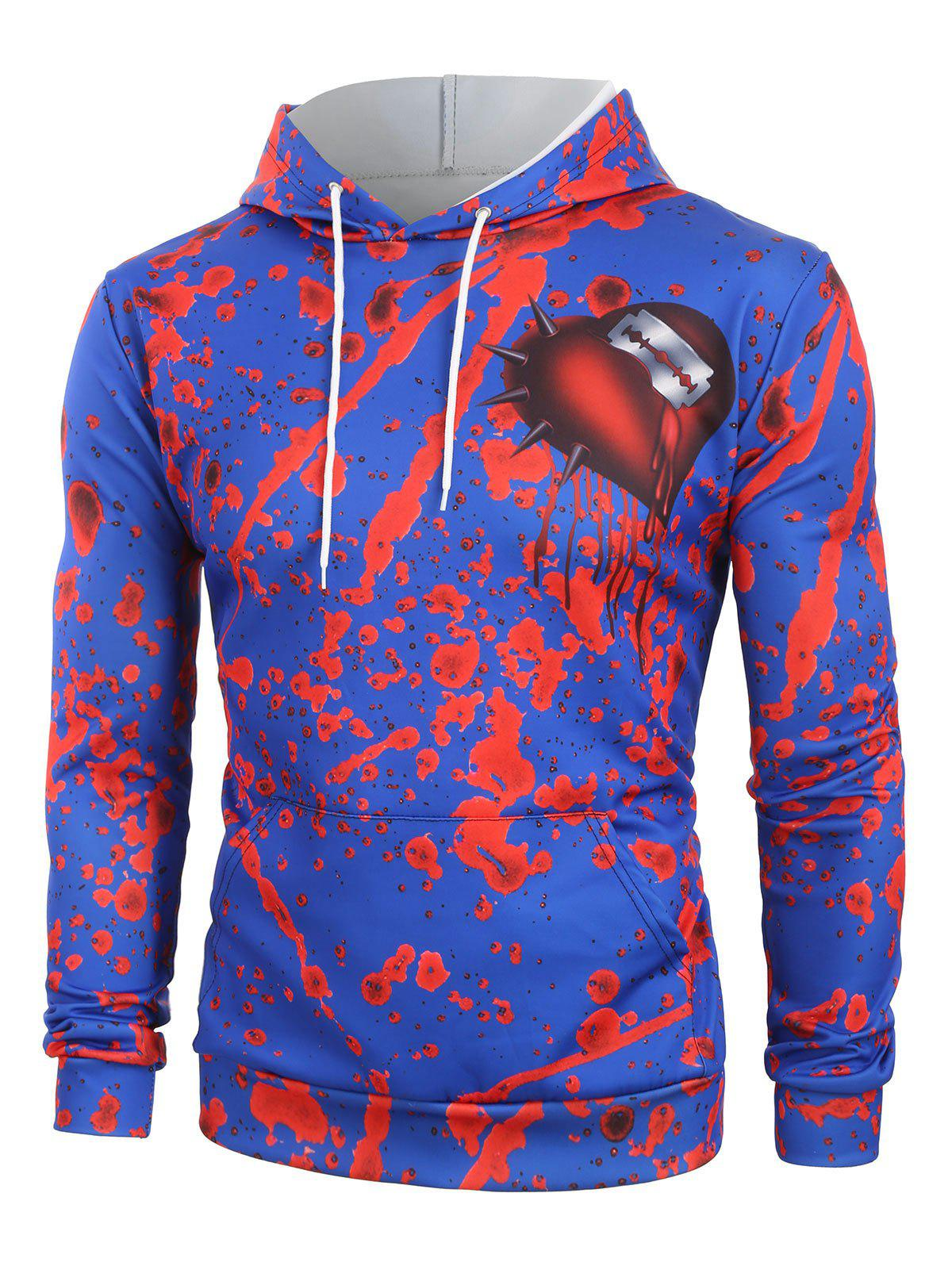 Discount Halloween Blood Cut Heart Print Front Pocket Hoodie