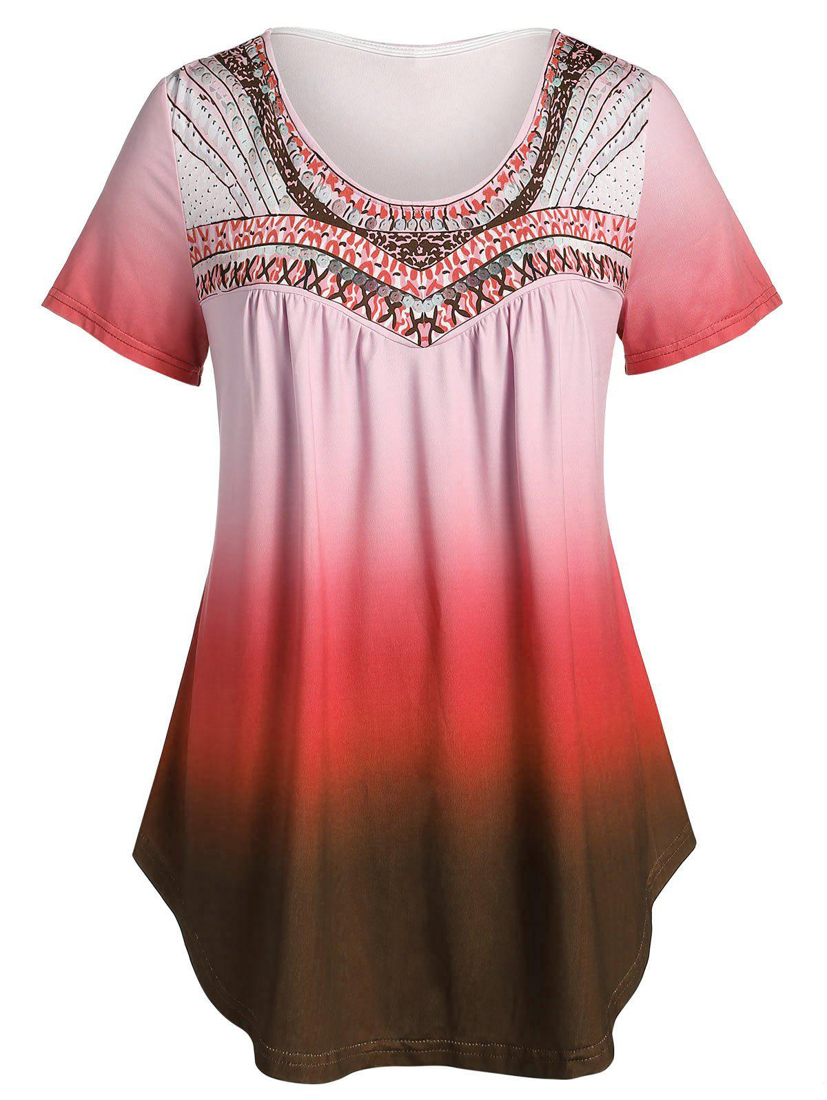Unique Plus Size Printed Tunic Flare T Shirt