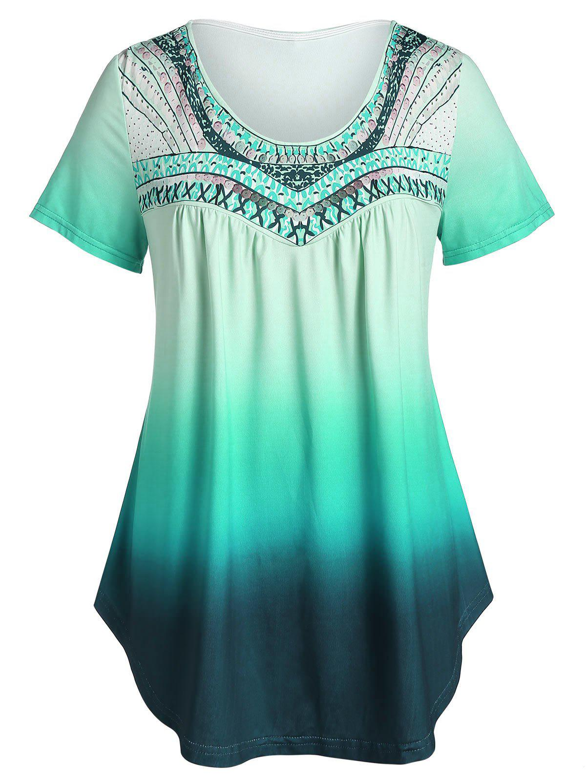 Best Plus Size Printed Tunic Flare T Shirt