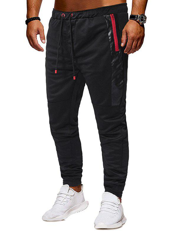 Buy Zipper Pocket Design Knitted Jogger Pants