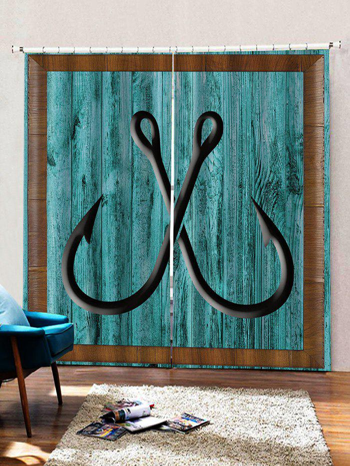 Affordable 2 Panels Wooden Board Hook Print Window Curtains