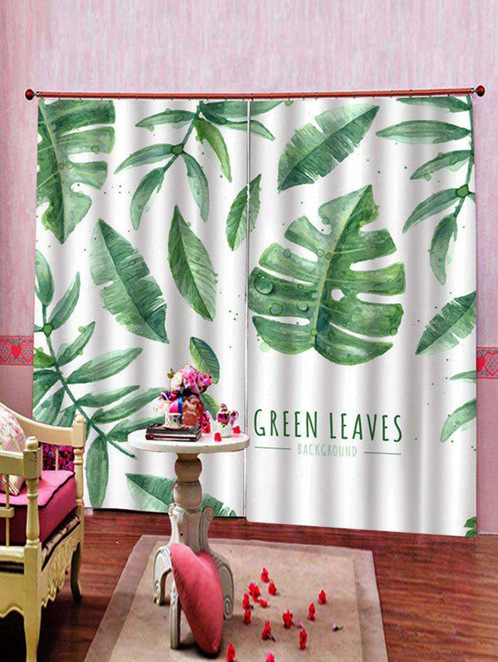 Affordable 2 Panels Tropical Leaves Letters Print Window Curtains