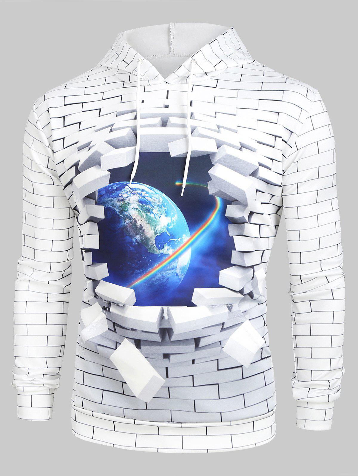 New 3D Broken Brick Globe Earth Space Graphic Front Pocket Hoodie
