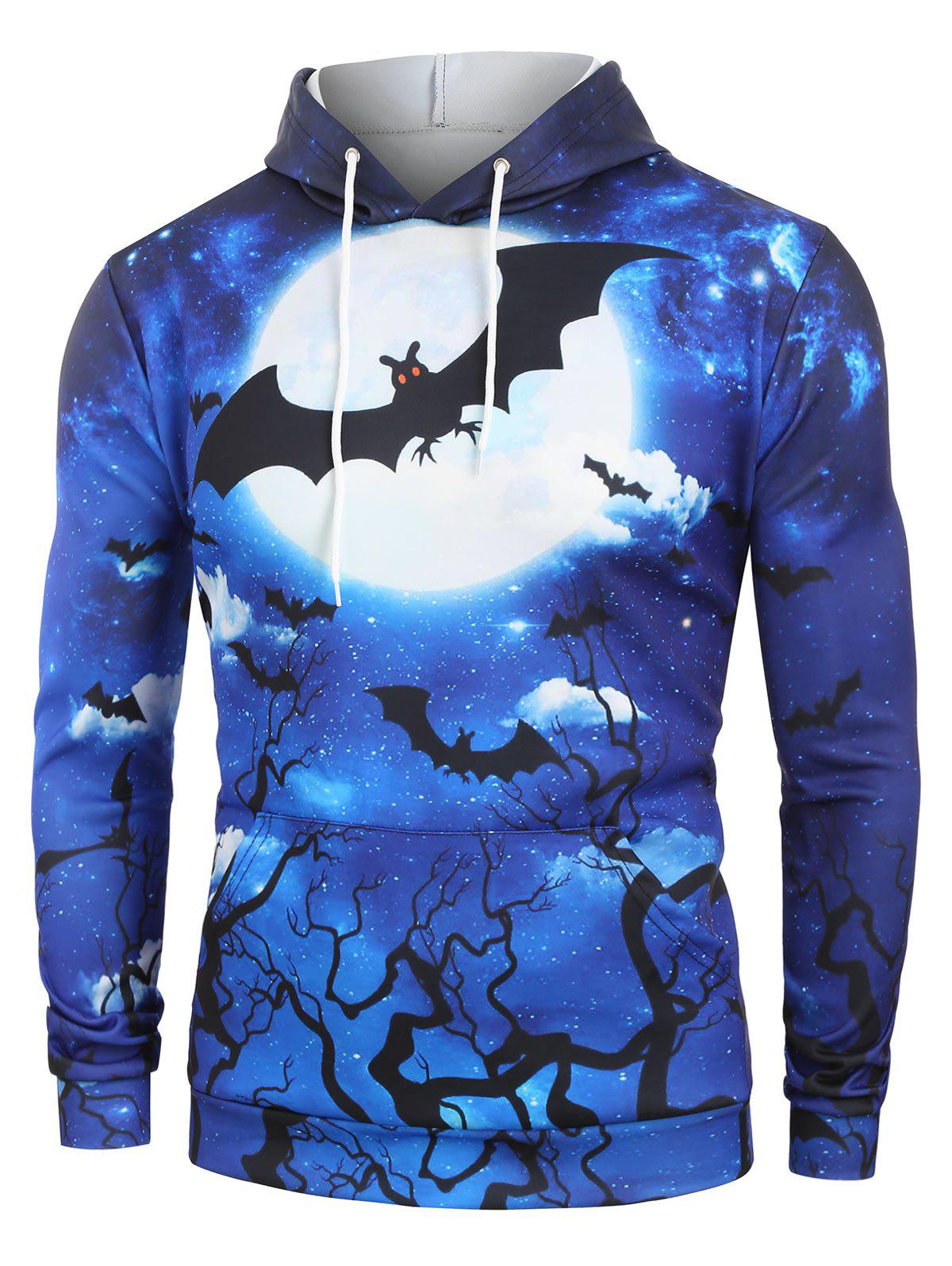 Hot Halloween Bat Moon Graphic Front Pocket Hoodie