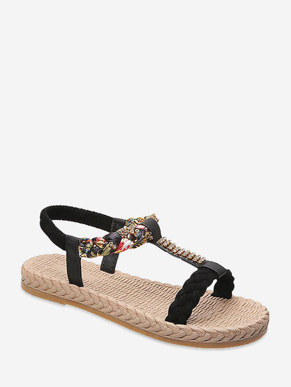 Outfits Casual Rhinestone Floral Braid Flat Sandals