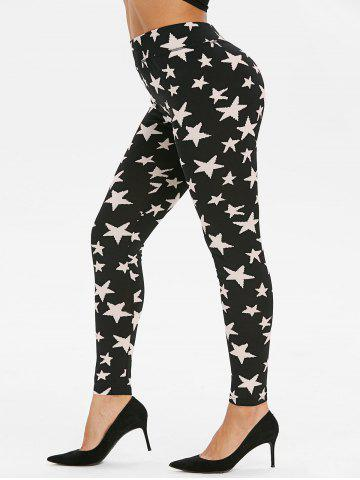 Starfish Print High Waisted Skinny Leggings - Xl BLACK