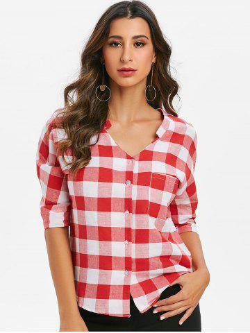 Plaid Three Quarter Sleeves Buttoned Pocket Blouse