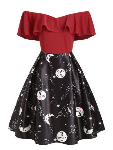 Plus Size Vintage Flounce Printed Off The Shoulder Dress - RED - 1X