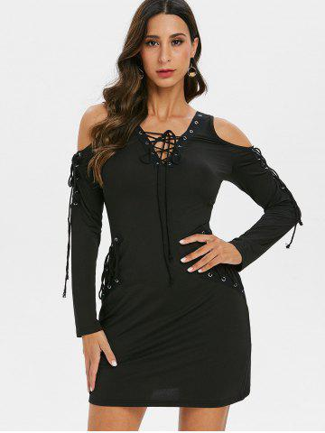 Lace Up Long Sleeve V Neck Mini Dress