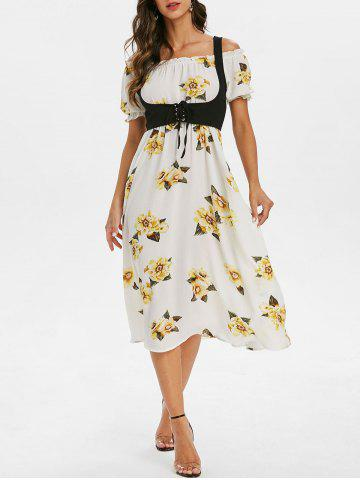 High Waist Floral Print Dress with Lace Up Top - WARM WHITE - L