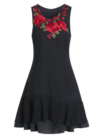 Embroidered Sleeveless Fit And Flare High Low Dress