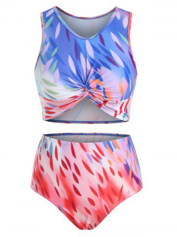 Leaves Ombre Twisted Padded Tankini Swimsuit - MULTI - 2XL