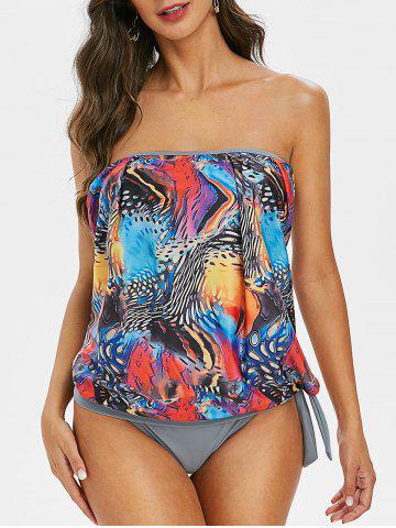 Printed Strapless Padded Tankini Swimsuit