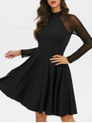 Ragalan Sleeve Mesh Insert Mini Flare Dress -