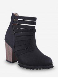 Caged Stacked Chunky Heel Short Boots -