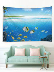 Palm Tree Underwater World Print Home Decor Tapestry -