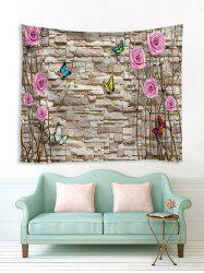 Brick Wall and Flowers Print Tapestry Wall Hanging Art Decoration -