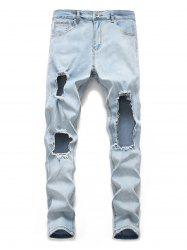 Destroyed Design Zip Fly Casual Jeans -