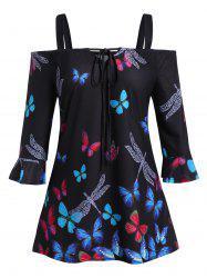 Plus Size Butterfly Dragonfly Cold Shoulder Ruffle Cuffs Tee -