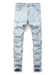 Ripped Design Cuffed Leisure Jeans -