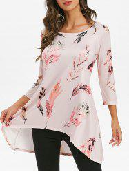 Feather Print Round Neck High Low Tee -